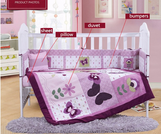 Фотография Discount! 4PCS Purple baby bumper set winter bedclothes bumpers toddler bedding cot,include(bumper+duvet+sheet+pillow)