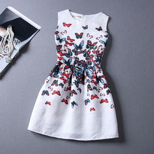 2015 Fashion Summer Style Butterfly Print Women Dress Party Evening Elegant Vintage Summer Dress White Vestidos De Festa Robe(China (Mainland))
