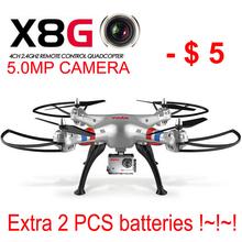 100% original Syma X8G Drone 2.4G 4ch 6 Axis 5MP Wide Angle Headless  RC Camera Quadcopter Helicopter Gopro 3 4 SJ4000 Camera(China (Mainland))