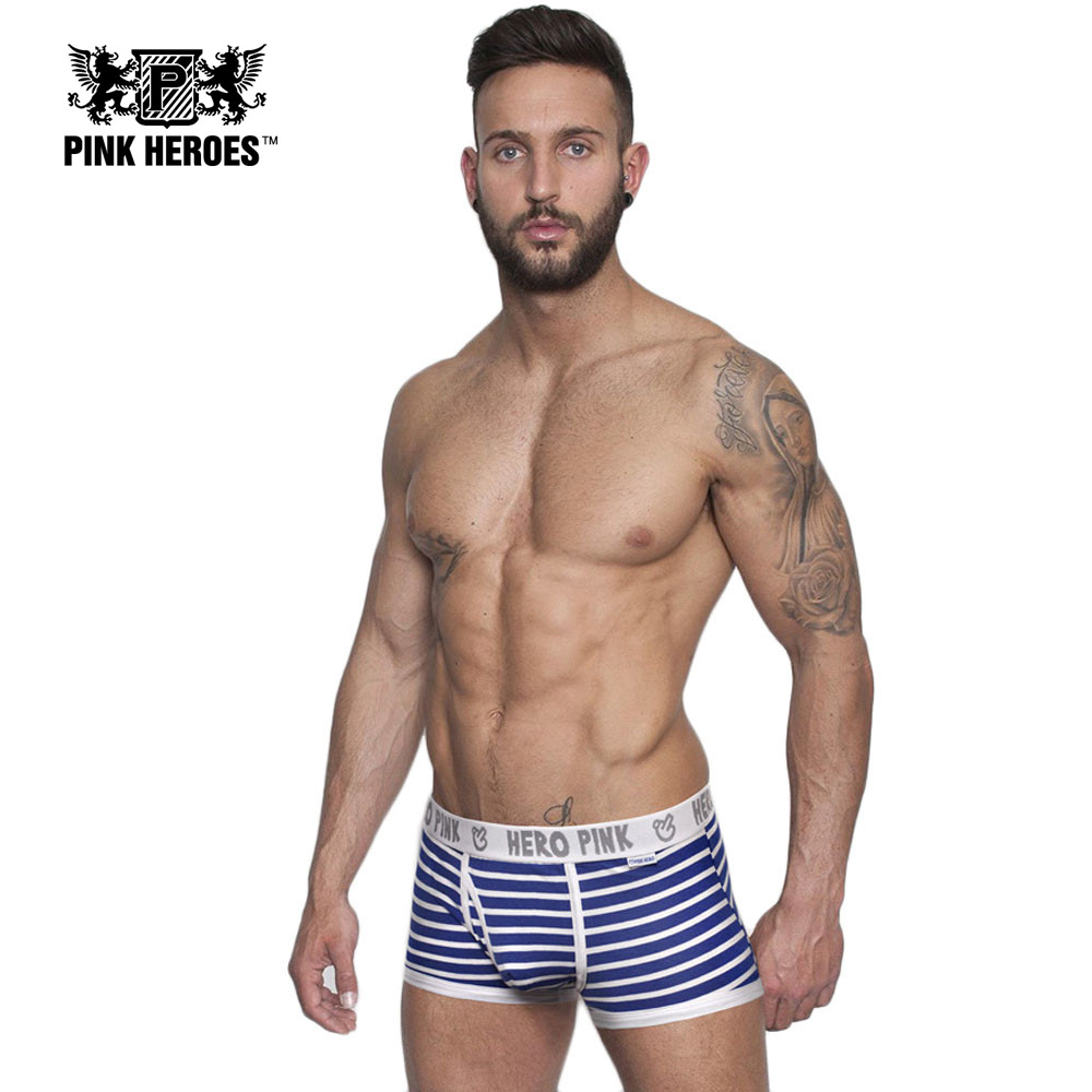 Pink Heroes 2017 Fashion Sexy Underwear Men's Boxer Cotton Striped Soft Man Underwear Fringe Underpants ld ourlove