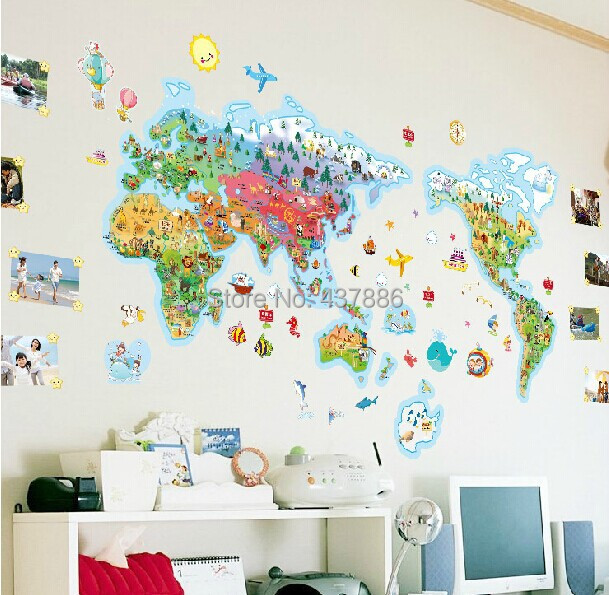 Rice cartoon world map of the world large children real cartoon rice cartoon world map of the world large children real cartoon decoration wall stickers wallpaper world map for kids wall rooms wall decal quotes wall gumiabroncs Images