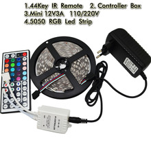 Buy 5050 Led Flexible Strip Light DC12V 5M 300led Diode Tape+44Key RGB IR Remote Controller +12V 3A Power Adapter EU US UK AU plug for $12.00 in AliExpress store
