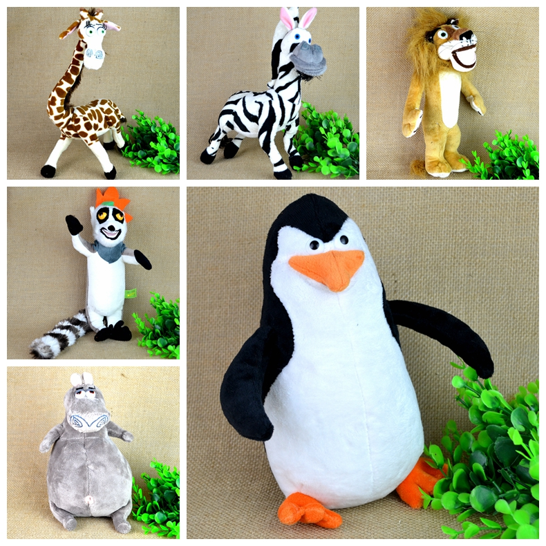 Madagascar Plush Penguin Animals Toys,Lion Alex Zebra Marty Giraffe Melman Hippopotamus Gloria Pelucia Brinquedo Juguete(China (Mainland))