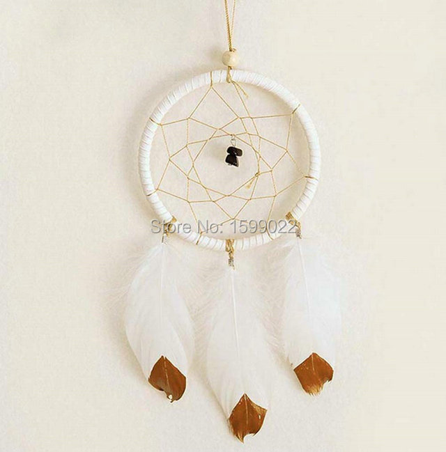 Handmade Native American Indian white feather dream catcher circular net wall hanging for home car styling decor gift(China (Mainland))