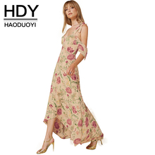 HDY Haoduoyi Floral Print Spaghetti Strap A-line Dress Plunge Neck Cut Out Backless Vestidos Loose Bohemian Maxi Beach Dress(China (Mainland))