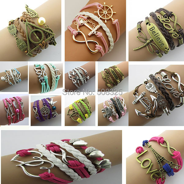 AB073 Fashion jewelry leather Double infinite multilayer bracelet factory price wholesales(China (Mainland))