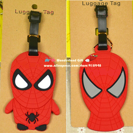 Cool 2pcs/set spider luggage tag BAG TAG School bag key chain ring kid toys Christmas gift toy spider men man robot mask hero(China (Mainland))