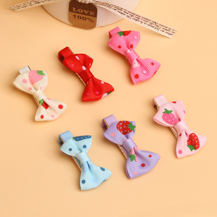 4*2.2cm Baby Toddler Girls Hair Clips Ribbon Bow Kids Strawberry Satin Bowknot Hairpin 6 Colors 0969(China (Mainland))