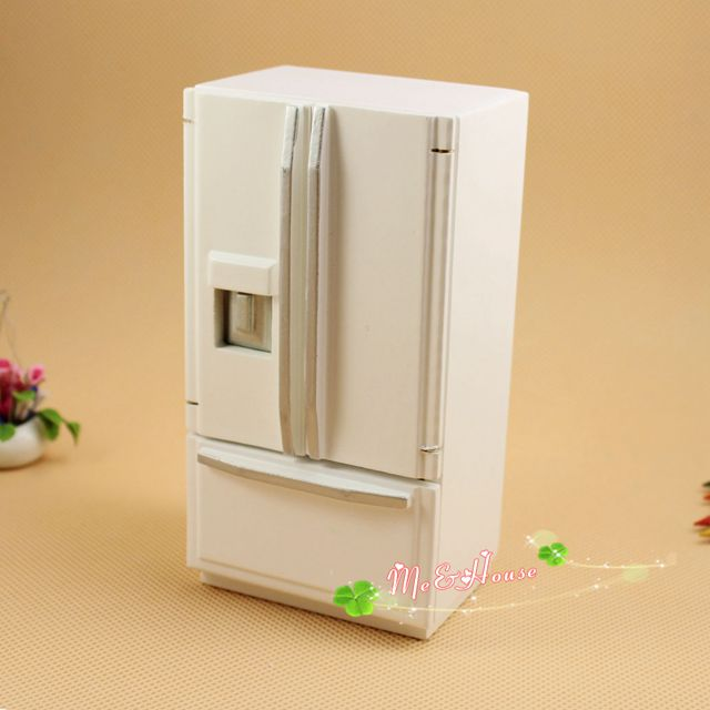 G05-X0049 children baby gift Toy 1:12 Dollhouse mini Furniture Miniature wooden white Refrigerator fridge color - eudora Qiu's store