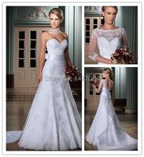 Vestido de noiva Brasil Romance 2015 Lace Wedding Dress With Long Sleeves Jacket Sweetheart Plus Size Bridal Gowns Bow Sash(China (Mainland))