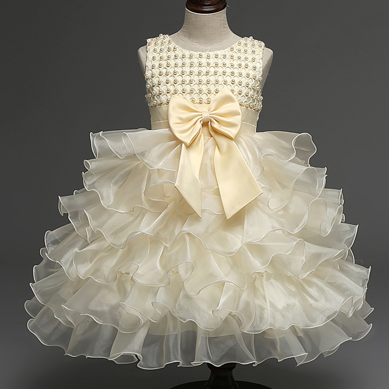 High Quality White Baby Girl Baptism Dress Summer Tulle Tutu Dress For Wedding And Party Cute Bow Kids Clothing Fit Baby 0-2Yrs(China (Mainland))