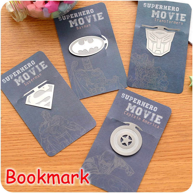 [FORREST SHOP] Creative Gift Super Hero Bookmark Paperclips / Movie Stars Silver Metal Bookmarks For Books (80 Pcs/Lot) C239(China (Mainland))