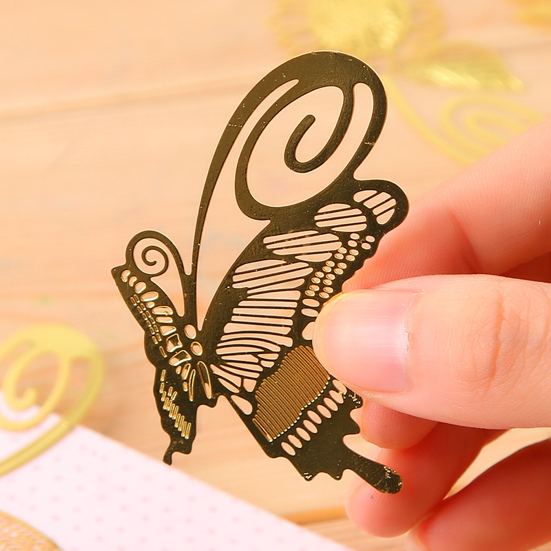 Mini Cute Kawaii Gold Metal Bookmark Paper Clip Antique Plated Butterfly Dragonfly Bookmarks Korean Statioenry Free shipping 807(China (Mainland))
