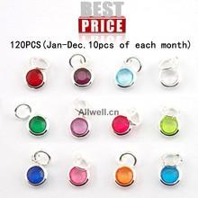 Envío gratis 120 unids/lote mixta encantos Birthstone 6 mm cristal para fines collar personalizado ( enero diciembre. 10 unids de cada mes )(China (Mainland))