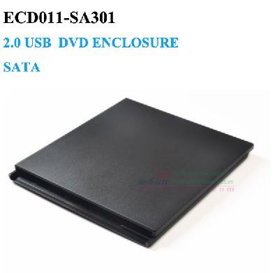 Slot in USB 2.0 external dvd enclosure SATA 9.5mm Laptop Notebook CD Caddy No Driver ECD011-SA301(China (Mainland))