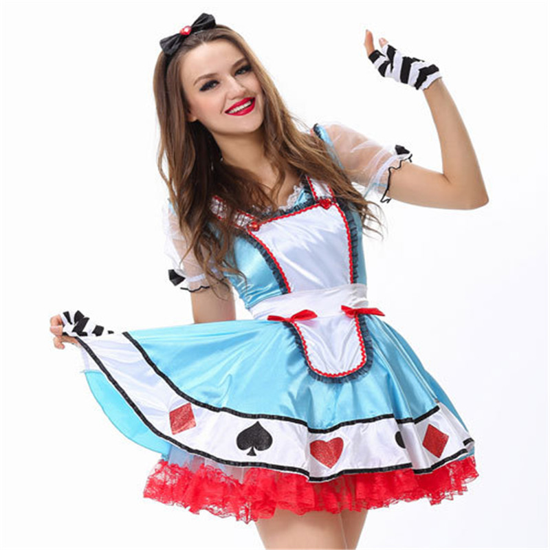 Lovely Blue Playing Cards princess Halloween scary Costumes for women Cosplay game uniformsExotic Apparel Casino mogul Costumes(China (Mainland))