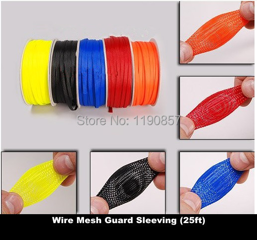 Гаджет  25ft of 3mm Wire Mesh Guard RC Car Quadcopter Wiring Braided PET Expandable Auto Wire Cable Gland Sleeves High Density free ship None Электротехническое оборудование и материалы