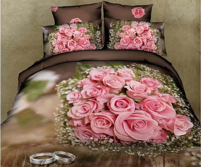 Rural style Pink Roses 100% cotton 3D oil printed home textile 4pcs bedlinen Quilt/duvet/comforter cover bedding set Queen B2399(China (Mainland))