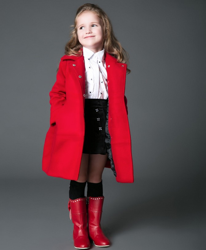 Wholesale European Brand Girls Wool Dress Coat Children&39S Winter