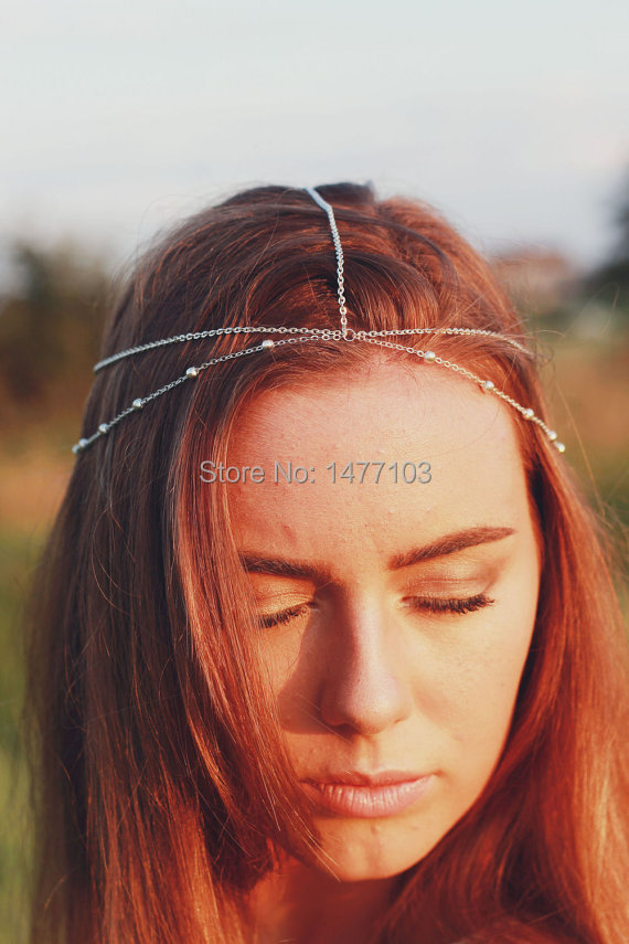 New Fashion Double Layers Beads Head Chain Headdress Hairband Head Pieces Hair Jewelry Accessary Gift for Women(China (Mainland))