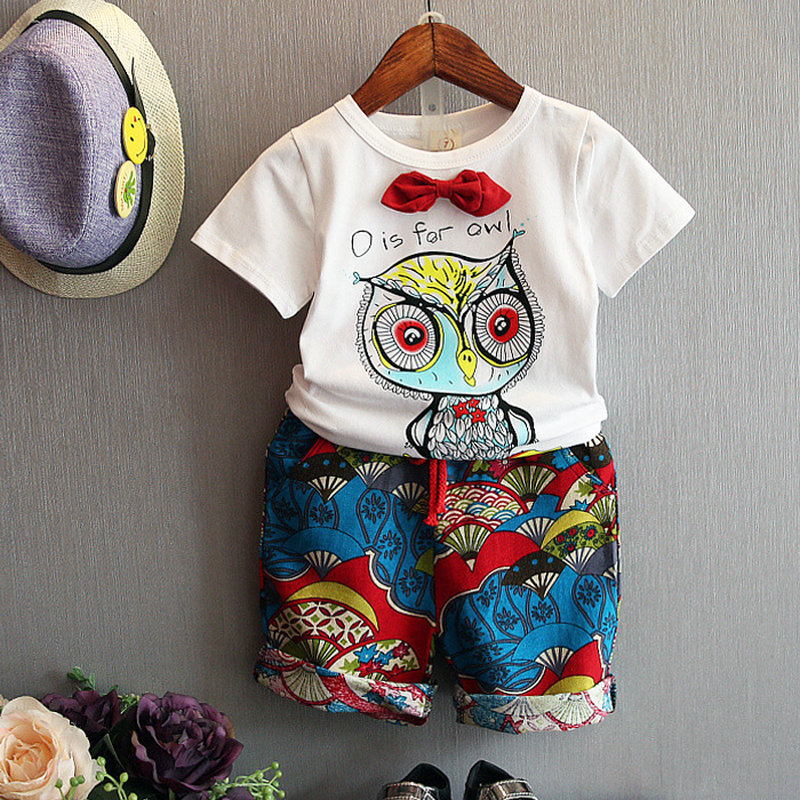 New girls boys casual clothes new summer kids printed owl t shirt dinette short suit fashion childrens wear age for 2-7T 16J03(China (Mainland))