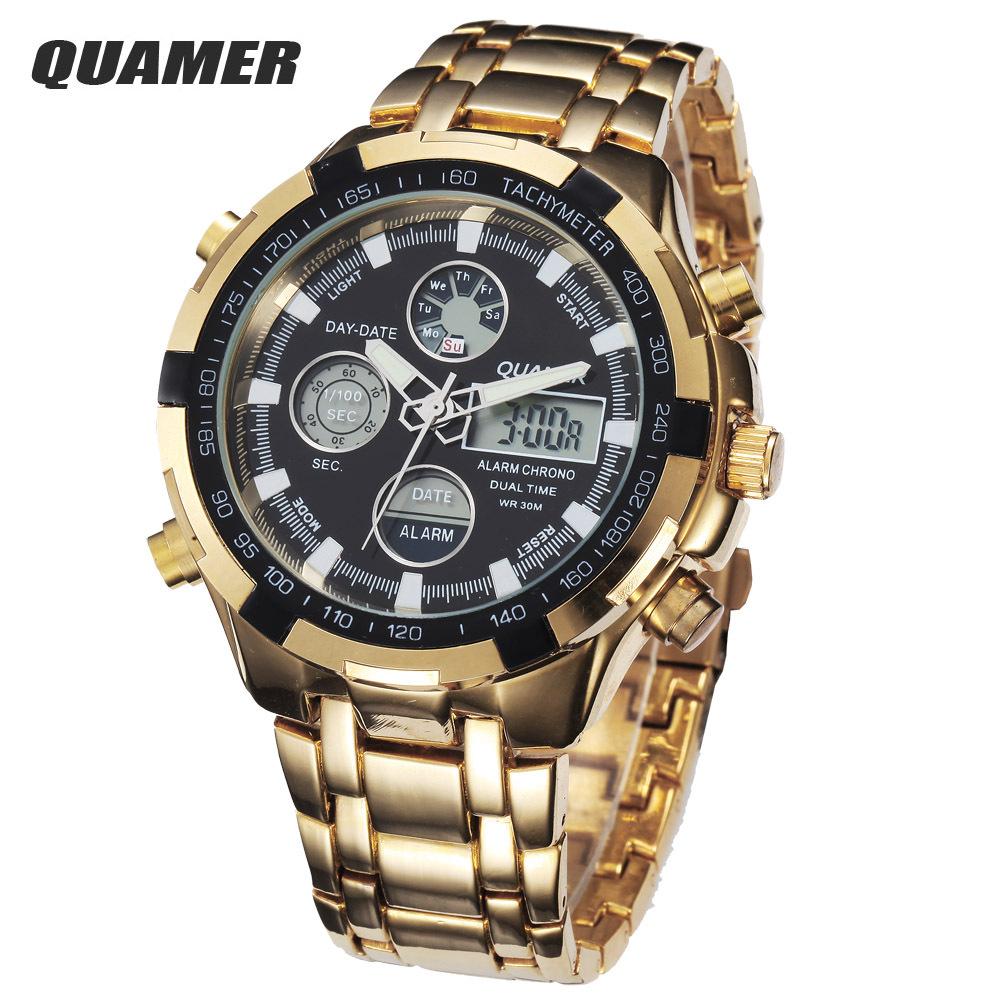 Гаджет  Relogio 2015 Quamer Golden Wristwatches Analog Digital Military Watches Waterproof Sports Clock Multi-Function LCD Quartz Watch None Часы