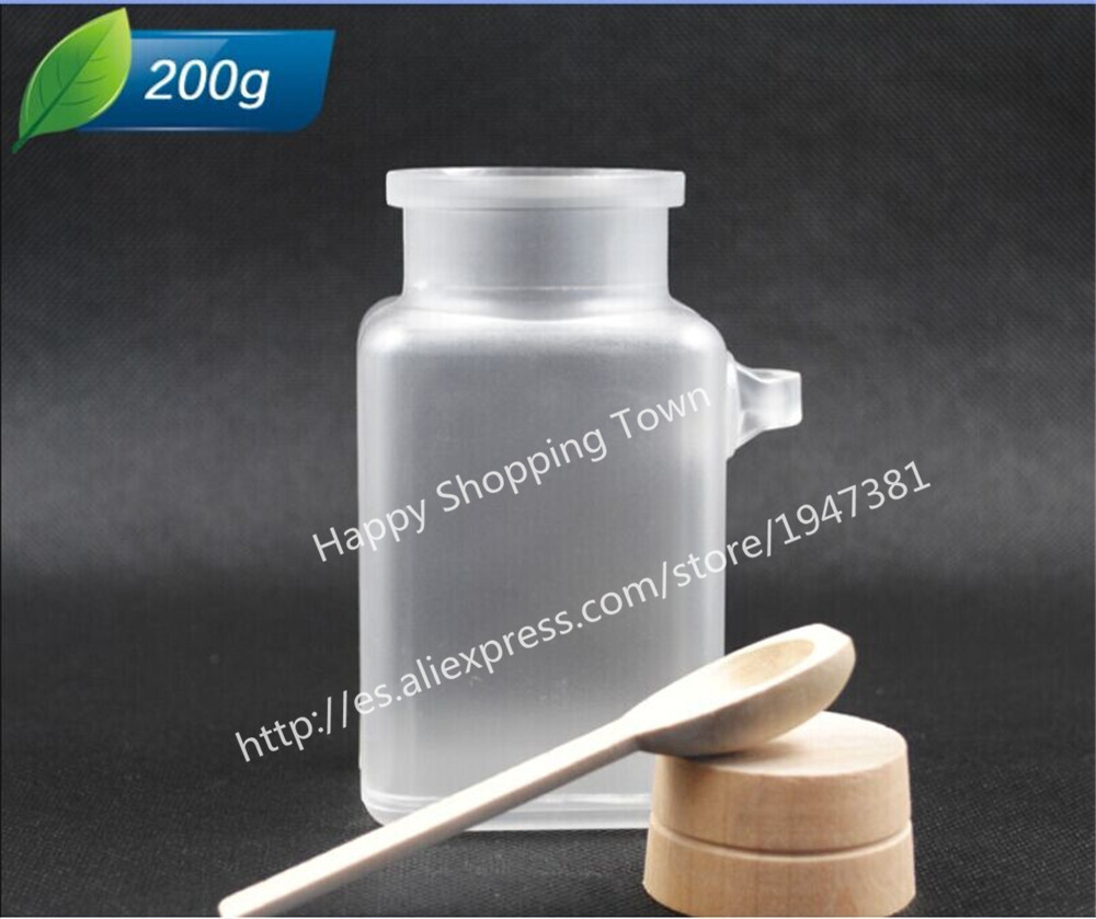 12 X 200G ABS Square Bath Salt Bottle 200ml Powder Plastic Bottle with Cork Jar with Wood Spoon,Packaging Bottle