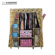 Gohide Extra Large Double Solid Wood Wardrobe Easy Folding Cloth Wardrobe Oxford Fabric Wardrobe Lockers To Storage Clothes(China (Mainland))