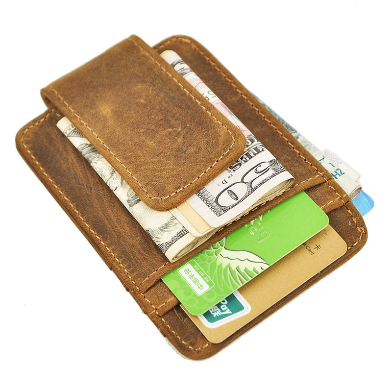 Real Leather wallets men Clamp for Money High Quality Vintage Card Holder Wallet Men Simple clip Purse Clutch Gift For Man(China (Mainland))