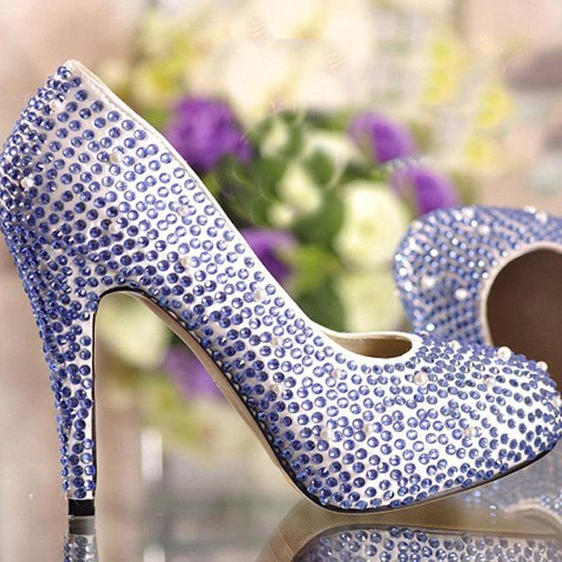 2015 Fashion Spring Blue Rhinestone Round Toe Platform High Heel Wedding Bridal Evening Pumps Prom Dress Anniversary Party Shoes