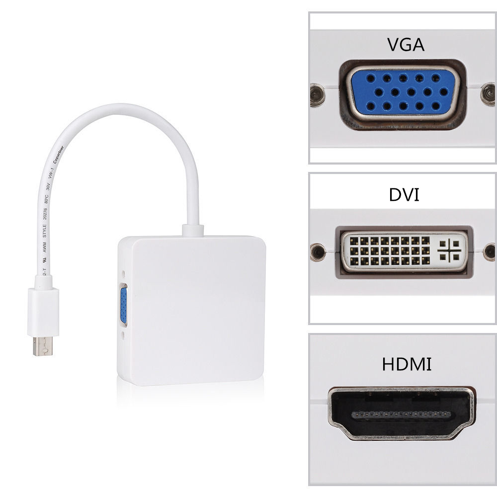 3 in 1 mini dp thunderbolt to dvi vga hdmi converter for Apple video projector
