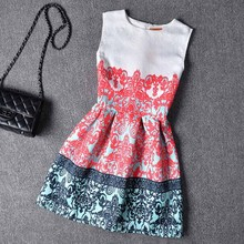 6-12yrs kids dress Girl Dress 2016 Summer Style Fashion Sleeveless Printed Kids Dresses for Girls Clothes Party Princess Dress