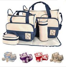 Babypflege 2016 Mode 5 Teile/satz Windelbeutelmamabeutel Mutter Tasche Für Baby Hohe Qualität Wickelkommode Taschen 7 Farben(China (Mainland))
