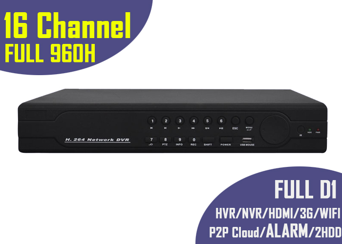 Full 960h DVR 16 Channel D1 HVR NVR H 264 Security recorder Alarm 1080p HDMI Network surveillance 16ch Standalone 2HDD for home