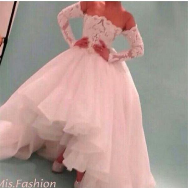 Beteau vestido de noiva high low long sleeves vintage for Long sleeve high low wedding dresses