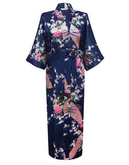 Темно-синий мода женщин павлин долго кимоно банный халат ночная рубашка платье юката ...