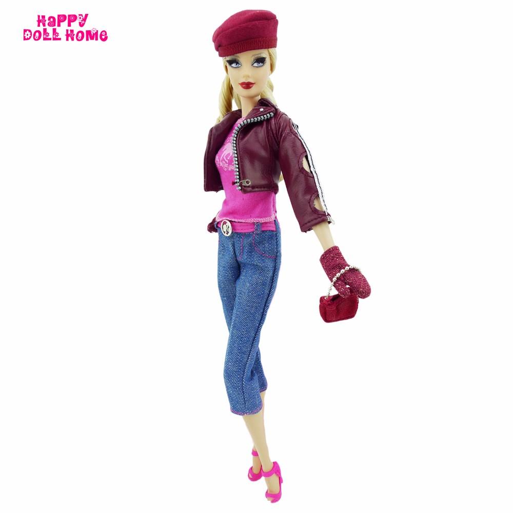 Vogue Outfit Leather-based Jacket Denims Pants Pink Vest Gloves Hat Purse Excessive Heels Footwear Garments For Barbie FR Kurhn Doll Present