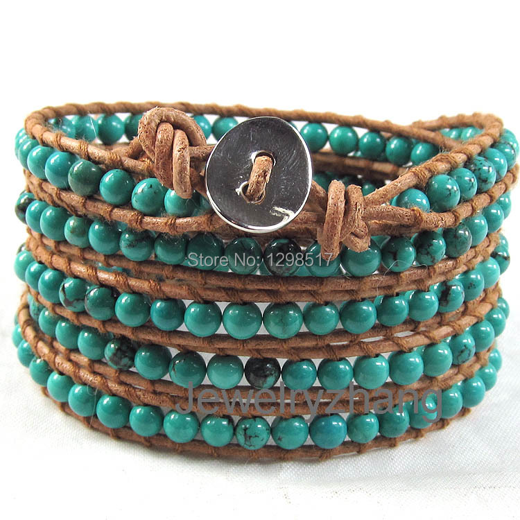 10pcs/lot Natural turquoise beads on light brown leather 5 multi wrap bracelet fashion bangle jewelry;100% brand new<br><br>Aliexpress