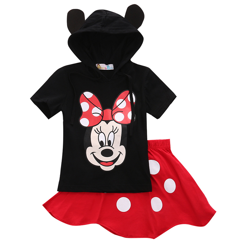Fashion Baby Boy s Cartoon Clothing 2015 Summer s Kids Minnie Mouse Clothes Tops+Dress Tutu Pants Outfit Suit supersta(China (Mainland))