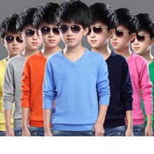 clothing Autumn 2016 children's clothing girl boys sweater hedging solid color V-neck sweater men sweater children kids clothes