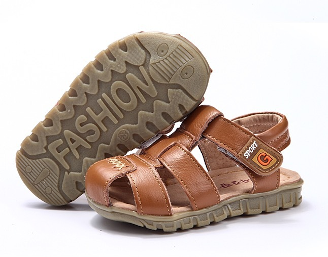 Children boys sandals toddler shoes genuine leather summer function soft outsole covering shoes toe cap 2015 2-6age(China (Mainland))