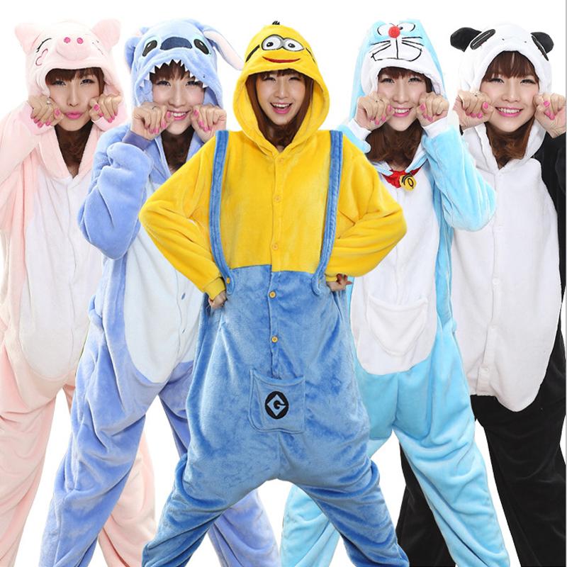 Adult Minion Pajamas Mujer Pyjamas Women Winter Panda Onesie Stitch Pyjama Femme Pijama Women Feminino Pigiama Donna Sleepwear(China (Mainland))