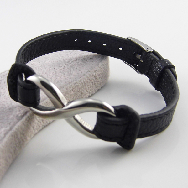 Fashion Jewelry Men And Women Infinity Bracelets 316L Stainless Steel Leather Bracelets Bangles Wholesale