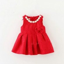 red children sleeveless tank-dress lace bow baby beade collar infant children's princess Girls basic dress vestidos MT575(China (Mainland))