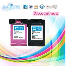 2 Pcs Black & Tri-color For HP 662 Compatible Ink Cartridges For HP662 662XL Deskjet 1015 1515 2515 2545 2645 3545 Printer(China (Mainland))