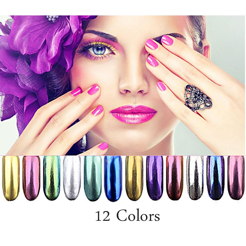 Hot Selling Electroplating Mirror Powder 12 Colors Aurora Mirror Powder Nail Glitter Powder 2g ZJY095(China (Mainland))