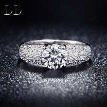 สีขาวG Old p latedแต่งงานแหวนหมั้นสำหรับผู้หญิงเพชรczเครื่องประดับของขวัญสำหรับหญิงสาวbijouxสี่กรงเล็บbague f emme DD024