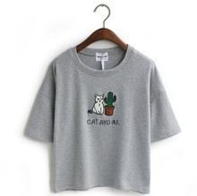 Embroidery T-shirt with Cat and Cactus