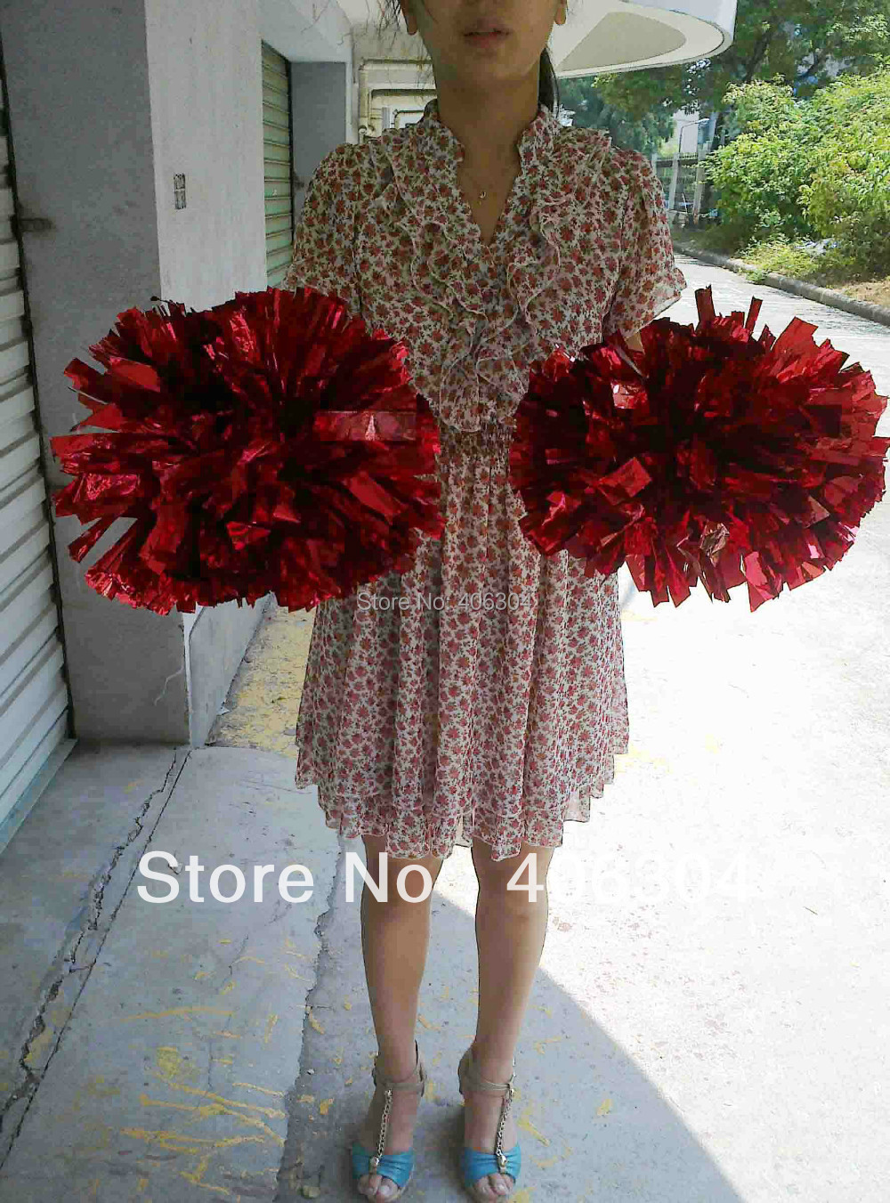 .80g Pompom,Cheering pom baton handle,Metallic Pom Pom,red,pink,green,blue.gold ,silver.suitable adult - HH Party Costume Store store