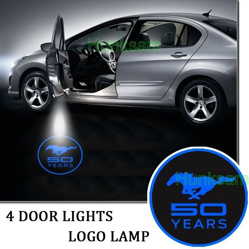 2PCS Projector Laser Auto Open Door Welcome Step Logo Led Lights For Ford Blue Mustang 50 Years #5139(China (Mainland))